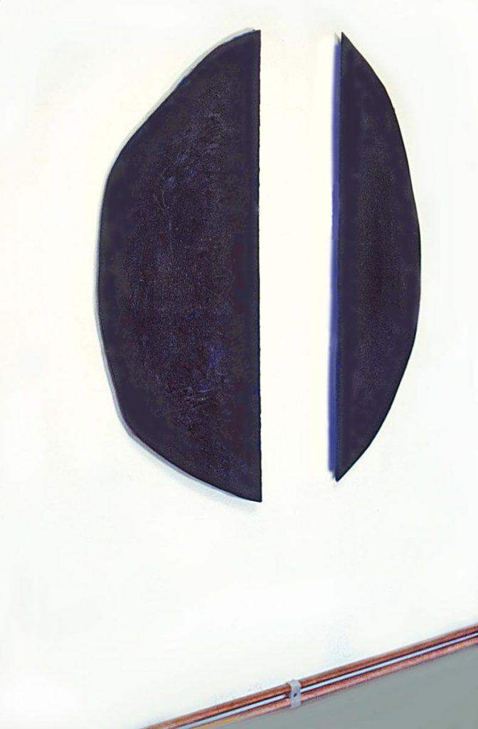 """""""Citta del sole"""", 2-teilig, Pigmente und Zement auf Papier auf Holz, farbreflektierende Kanten, 106 x 86 x 2 cm, 1988"""