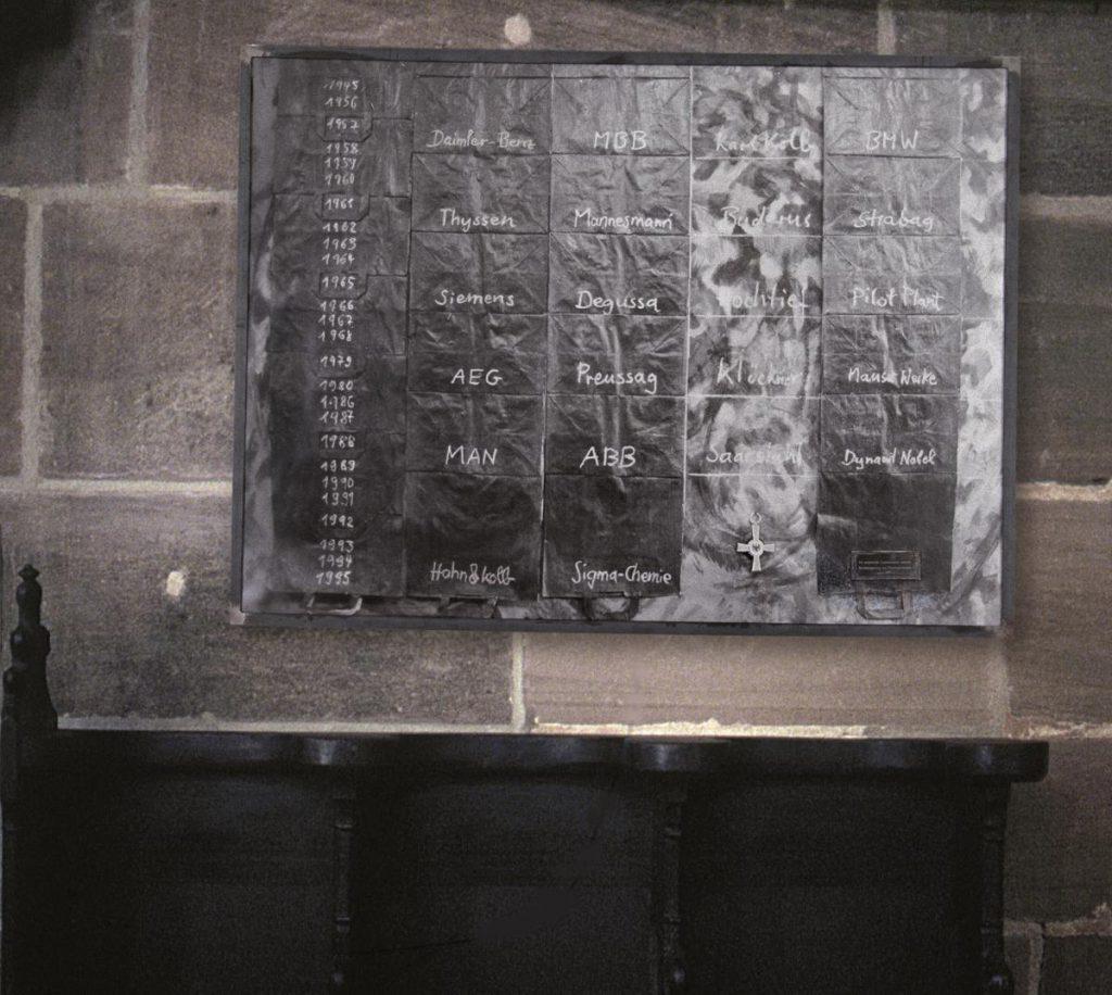 Fotomontage über Kirchenbank, Fotos schwarz bemalter Tüten, mit Kreide beschriftet (Namen von Firmen, die seit dem 2. Weltkrieg Waffen an kriegsführende Länder lieferten und liefern)