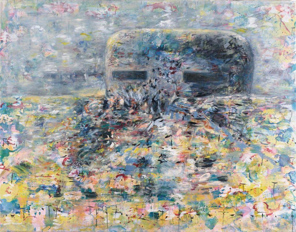 """Denkmal der Gefahr 2"", Acryl auf Leinwand, 145 x 185 cm, 2012"
