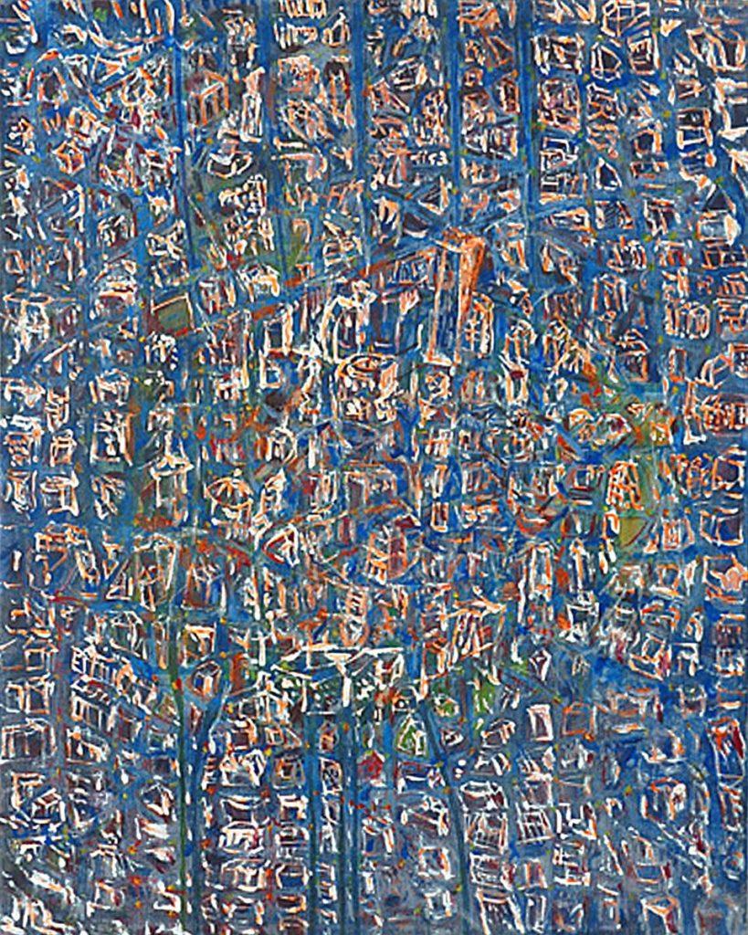 """""""Stadtstück 5"""" (Erinnerung an eine mittelalterliche Stadt), Acryl auf Leinwand, 50 x 40 cm, 2009"""