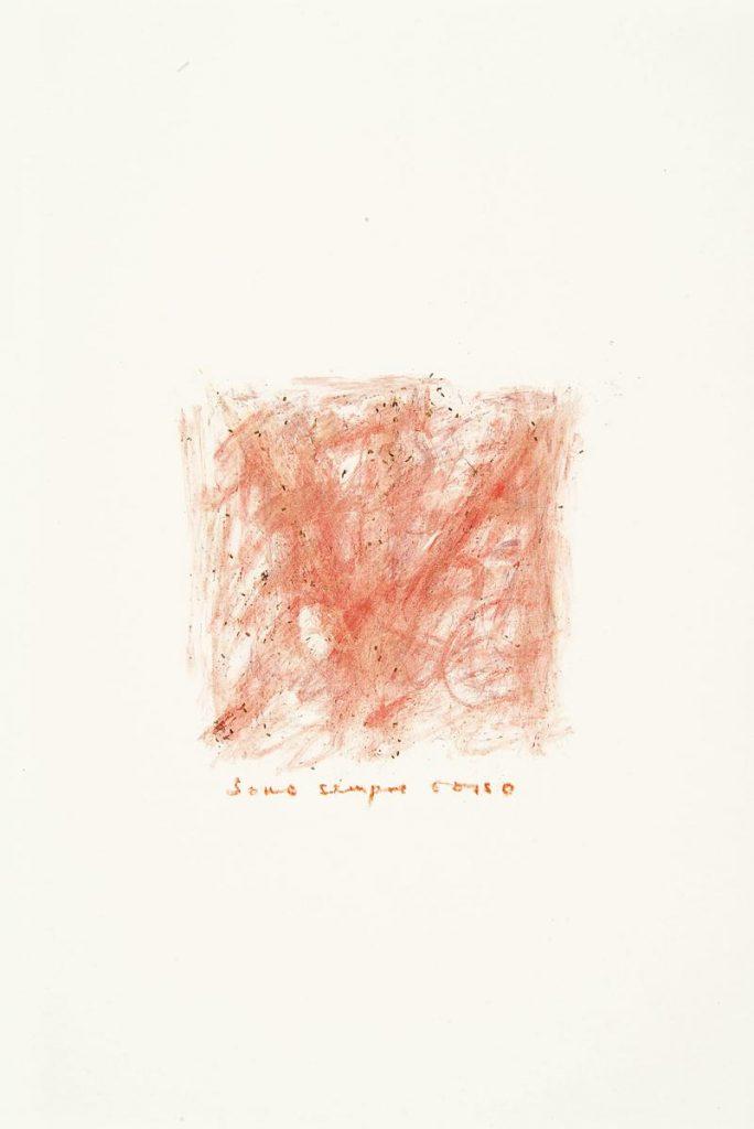 """""""Sommerbrief – sono sempre rosso"""", Mohnblütenfarbe auf Papier, Schrift mit Buntstift, 85 x 61 cm, 1981"""