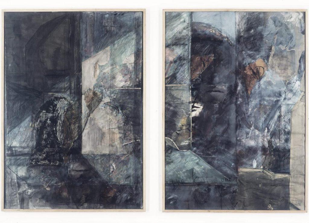"""""""I have lost something"""", Mischtechnik und Collage mit Fotofragmenten auf Papier, 2-teilig, 140 x 212 cm, 1987/1988"""