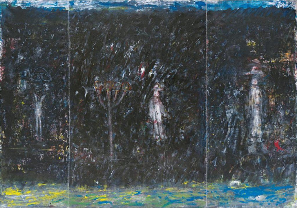"""""""Das Schwarze ist die Welt 1"""" (nach einem Kinderbild von 1947), Acryl auf Leinwand, 200 x 300 cm, 2002"""
