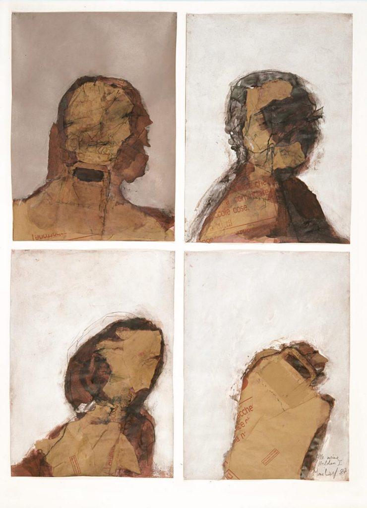 """""""Alle meine Helden 1"""", Collage aus Papiertüten und Mischtechnik auf Papier, 4 Formate je 70 x 50 cm, 1987"""