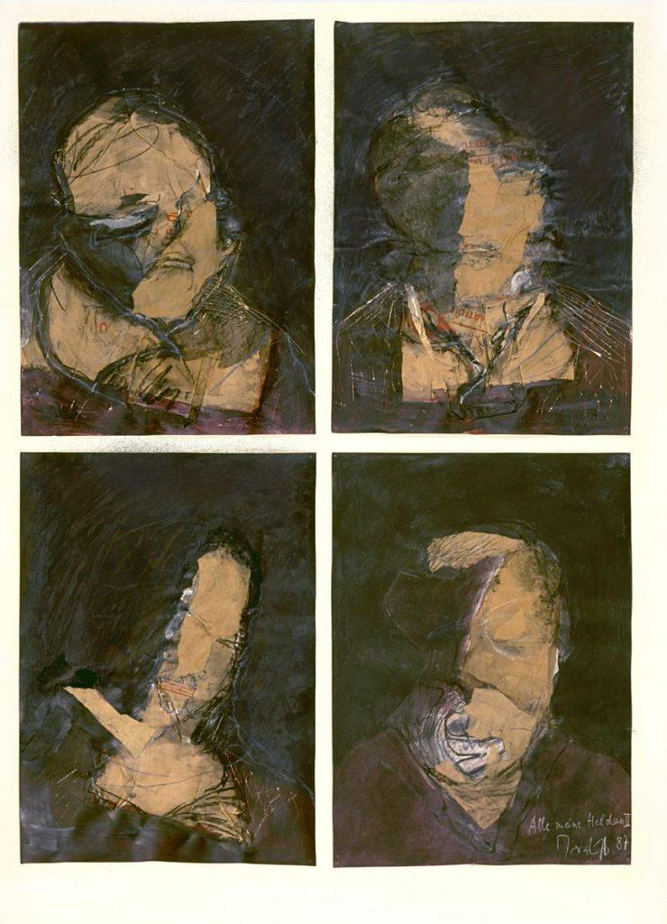 """""""Alle meine Helden 2"""", Collage aus Papiertüten und Mischtechnik auf Papier, 4 Formate je 70 x 50 cm, 1987"""
