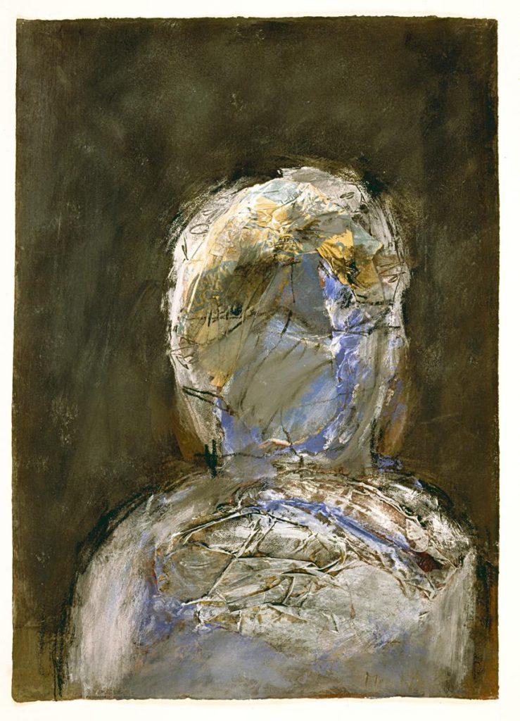 """""""Ein anderer"""", Farbe und Reste von Papiertüten auf Papier, 50 x 35 cm, 1987"""