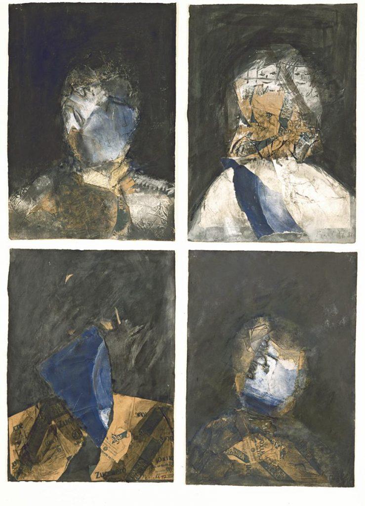 """""""Andere Helden"""", Farbe und Reste von Zuckertüten auf Papier 4x (50 x 35 cm), 1987"""