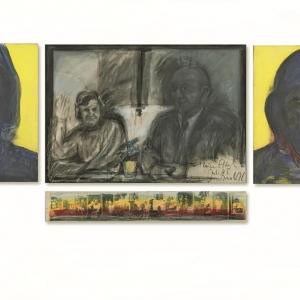 """""""Meine Eltern"""", Triptychon, 4-teilig, Acryl und Mischtechnik auf Leinwand und Papier, 130 x 370 cm, 1985"""