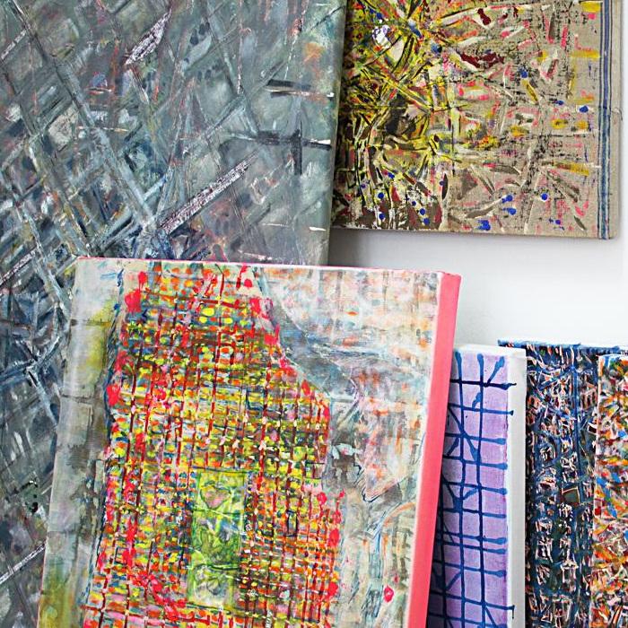 """""""urban area"""", Acryl und Tusche auf Leinwand, 18 x 24 cm, 2010, Ausschnitt"""