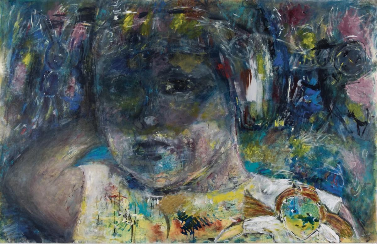 """""""The artist as a child"""", Acryl auf Leinwand, 135 x 210 cm, 2005"""