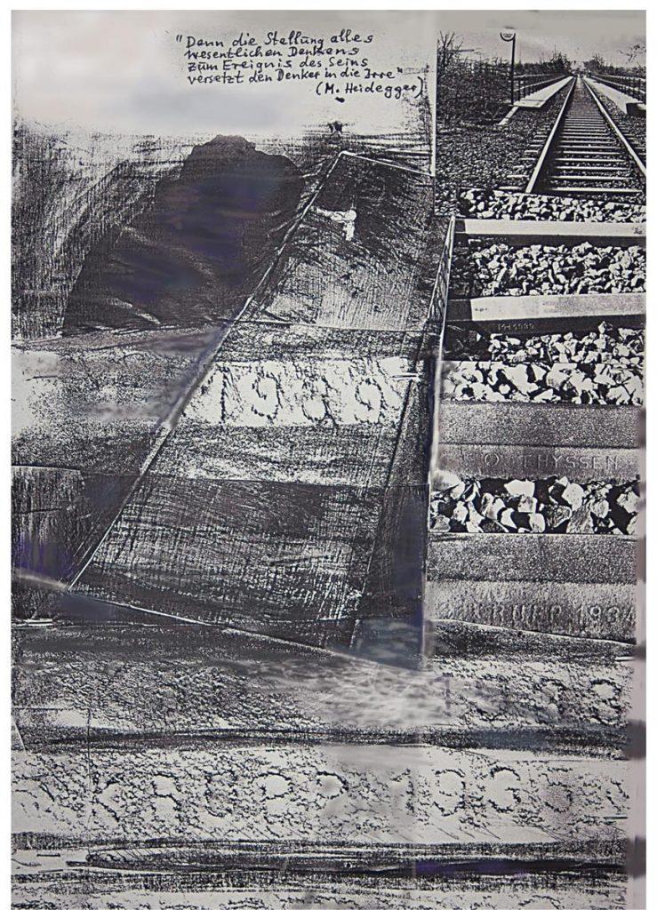 """""""Ringbahn"""", Collage mit Fotokopien, Frottagen und Heidegger-Zitat, 40 x 30 cm, 1991"""