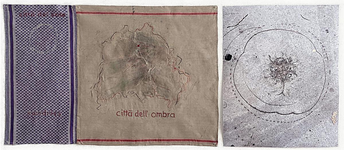 """""""città dell'ombra"""", besticktes Tuch und besticktes Foto, 84 x 200 cm, 2020"""