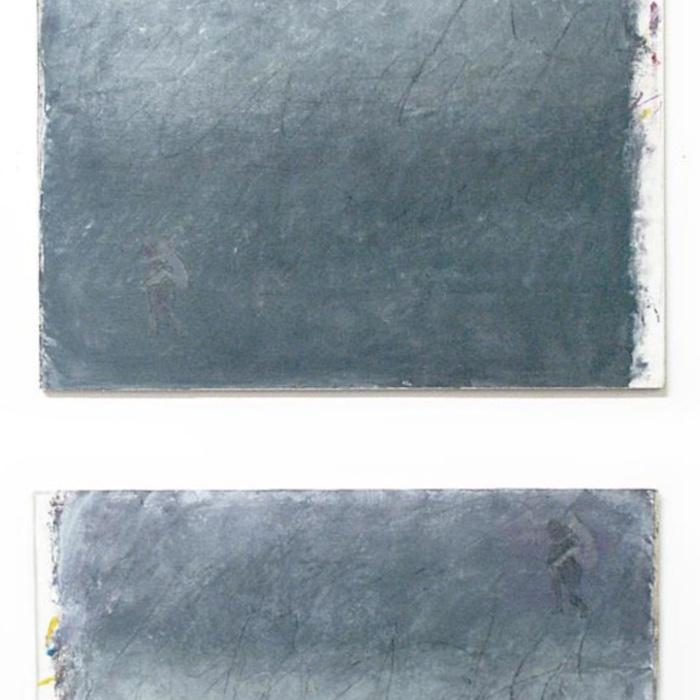 """""""Die Klettenfrau""""(nach Levi Strauss), Acryl (grau aus drei Grundfarben) und Kreide auf Leinwand auf Holz, 2x (78 x 76 cm), 1997"""