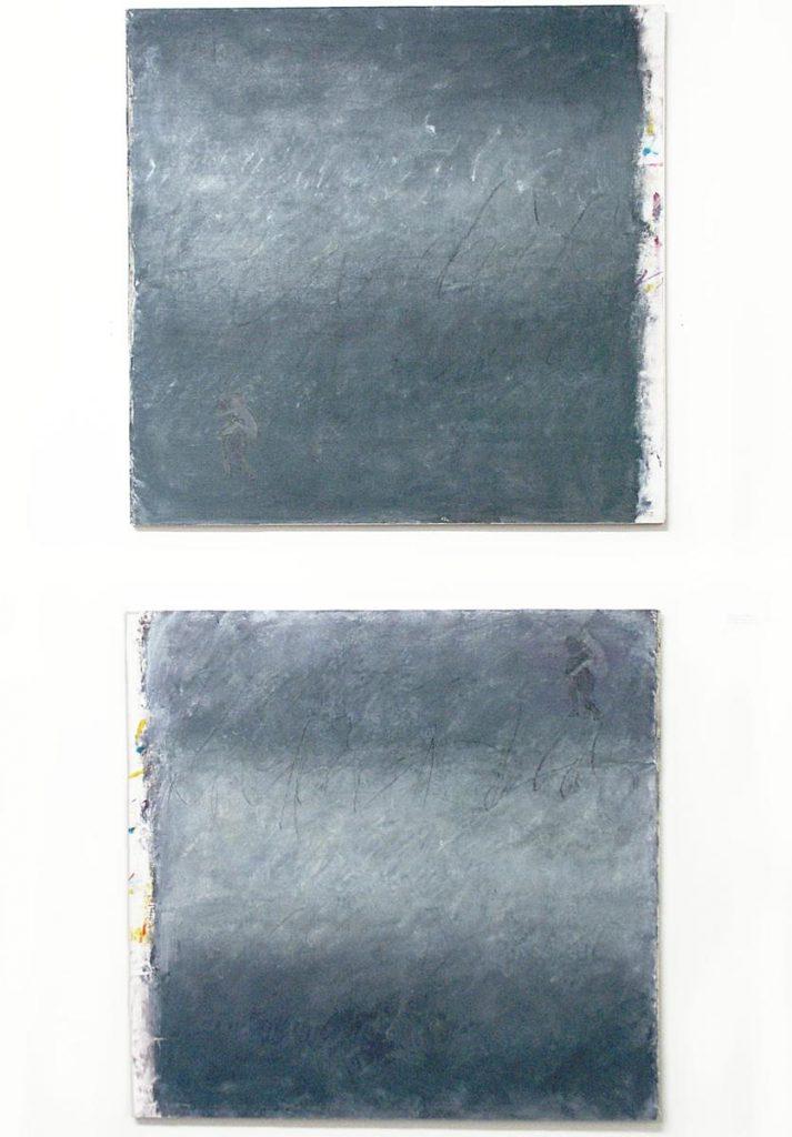 """""""Die Klettenfrau"""" (nach Levi Strauss), Acryl (grau aus drei Grundfarben) und Kreide auf Leinwand auf Holz, 2x (78 x 76 cm), 1997"""