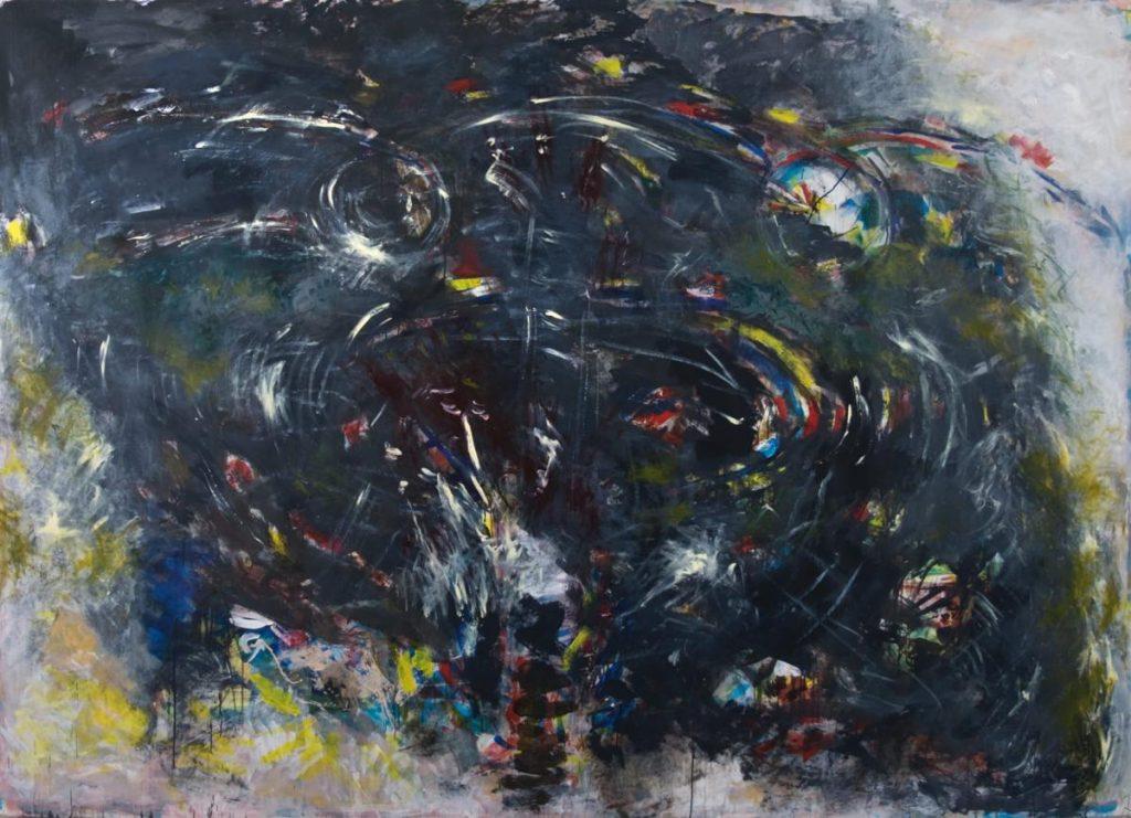 """Leaping the gap"", Acryl auf Leinwand, 200 x 300 cm, 2005"